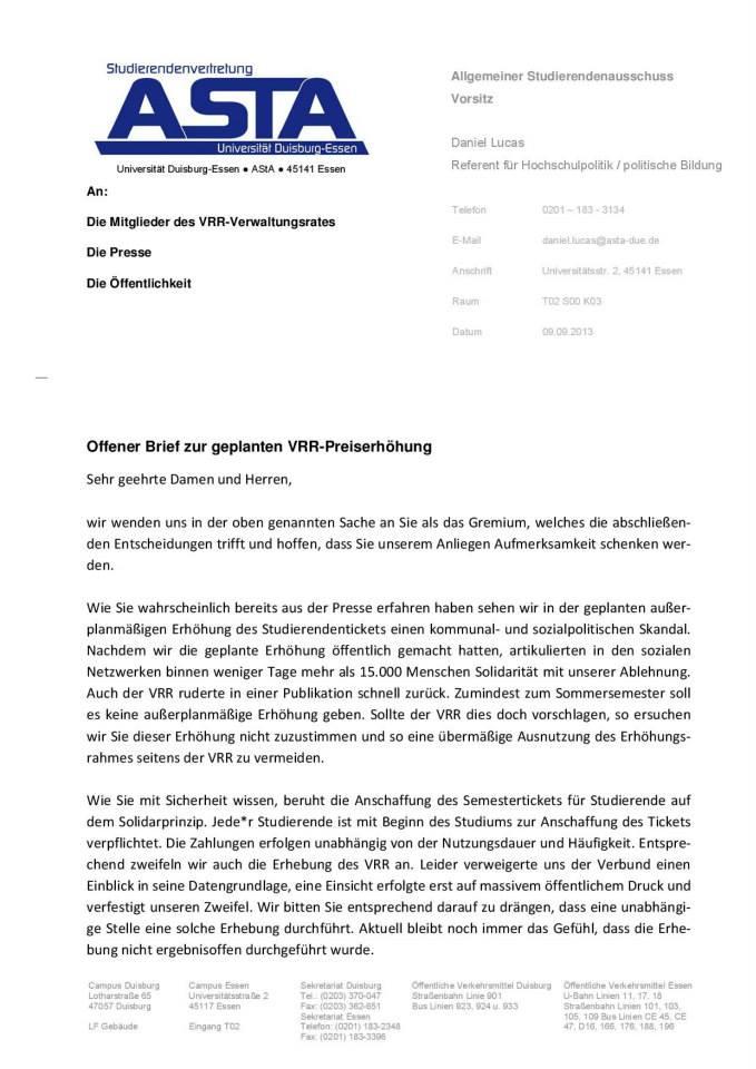 Offener Brief der ASten